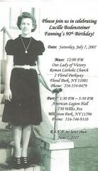 Lucille Bodensteiner Fanning's 90th Birthday Invitation