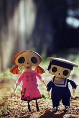 The little calaveras ~ (voo_doolady) Tags: boy sunset girl dayofthedead skulls skeleton toys tim child skully burton smallest calavera thecorpsebride