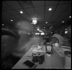 Lunch at a Diner (squaremeals) Tags: selfportrait lunch newjersey ketchup diner diana morristown squaremeals pinholephotographer