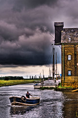 Boat (Jez22) Tags: uk portrait storm building water rain weather clouds creek dark boats boat kent yachts masts tidal faversham
