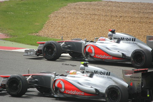 The McLaren cars of Jenson Button and Lewis Hamilton after the 2012 British Grand Prix