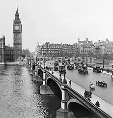0132828 (Granger Historical Picture Archive) Tags: street city people building bus london english car architecture early outdoor housesofparliament bigben pedestrian clocktower stereograph thamesriver doubledecker westminsterbridge 1926