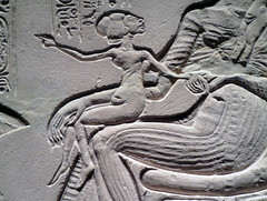 House Altar wih Akhenaten, Nefertiti and Three Daughters, detail with Daughter on Nefertiti's Lap