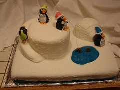 Penguin Cake by Christine S, Twin Cities, MN, www.birthdaycakes4free.com