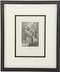 34. Antique Engraving of Saint Francis Receiving the Stigmata