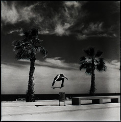 Switch Heelflip (RafaelGonzalez.) Tags: barcelona summer blackandwhite 120 6x6 film t spain europe skateboarding palmtree squareformat hp5 analogue trashcan ilford badalona carlzeiss sekonic rafaelgonzalez l508 switchheelflip 2880mmplanar fieldsights zeisscontest2012 maxfrion