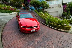 Mustang down the Crooked Street (Erik Pronske) Tags: sanfrancisco california street homes ford car hill convertible mustang crookedstreet russianhill lombardstreet voigtlnder12mm