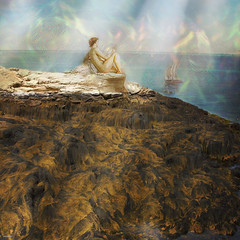 ~~~ mystified by the song of the siren ~~~ (xandram) Tags: light seaweed beach photoshop manipulation nh textures atlanticocean siren isleofshoals starisland