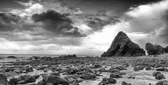 Blackchurch Rock (jedlangdon) Tags: ocean sea blackandwhite bw beach water monochrome rock clouds mono nikon stream stones tokina clovelly northdevon blackchurchrock tokina1116mm nikond3100 mouthmillbeach