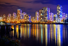 Vancouver Cityscape at Night (TOTORORO.RORO) Tags: city longexposure travel bridge autumn light canada reflection tower tourism water colors skyline night vancouver buildings lens landscape living landscapes downtown cityscape bc view zoom britishcolumbia sony seawall condo falsecreek alpha hdr condominiums retractable oss nex greatervancouver mirrorless powerzoom 1650mm nex6 selp1650
