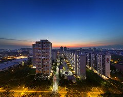 Peaceful Colors (AlawnK) Tags: urban colors sunrise buildings landscapes singapore blocks hdb governmenthousing bedoksouth