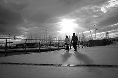 sunday walk (Kostas Katsouris) Tags: street bridge shadow urban bw sun clouds boats fuji walk sunday athens xt10
