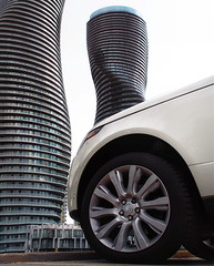 Land Rover (creditflats) Tags: white ontario canada tower car automobile apartment graphic tire condo curve suv mississauga landrover rangerover tyre alloy marilynmunroe