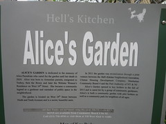 Hell's Kitchen Alice's Garden information plaque on West 34th Street in New York City (RYANISLAND) Tags: park nyc newyorkcity flowers trees plants ny newyork flower gardens garden chelsea gardening alice 34thstreet midtown newyorkstate urbangarden shrubs alices publicgardens nys hellskitchen citypark publicgarden 34thst midtownmanhattan midtownwest alicesgarden hellkitchen hudsonyards manhattanwest