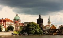 View on Prague (M a u r i c e) Tags: bridge cloud tower water architecture river prague cloudy czechrepublic cz ef50mmf18ii moldau