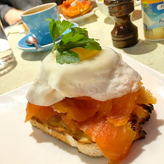 Fried egg and salmon breakfast stack at Pound in South Yarra