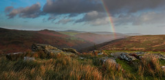 The colours of Combestone (snowyturner) Tags: winter grass rain clouds landscape shower rainbow colours rustic hills devon dartmoor dart dartmeet combestone