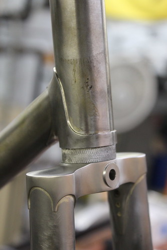 satin finished stainless fork crown