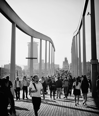 a river of people [Explored] (Duarte Santos [catching up]) Tags: barcelona life city bridge detail geometric metal architecture walking faces crowd curvy tourists structure human repetition seafront riverofpeople
