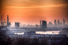 Sunset Smog (murphyz) Tags: city sunset orange london heron thames architecture canon buildings river smog haze glow cathedral dusk capital stpauls shard gherkin londonist