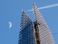The Shard: Plane lucky (cybertect) Tags: moon building london architecture skyscraper plane construction unitedkingdom aeroplane spire constructionsite renzopiano se1 londonse1 shardofglass theshard panasonicg2