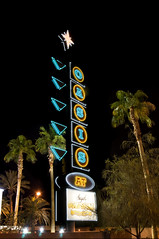 Midnight At The Oasis (Curtis Gregory Perry) Tags: street las vegas blue trees light tree sign yellow night photography gold star hotel photo nikon neon boulevard bright nevada tr motel casino boom fremont palm oasis experience signage rbol spike puu arbre rvore strom baum arbo trd  tr siegels  pokok d300 aa   drvo  copac pohon  drzewo     crann      pem