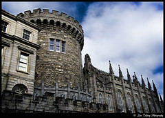 Dublin Castle Record Tower (Lisa Tiffany Photography) Tags: city blue ireland windows sky urban dublin irish castle church nikon medieval eire fortification complex irishhistory solid battlements dublincastle damestreet governmentbuilding recordtower irishfreestate d7000 kingjohnrule