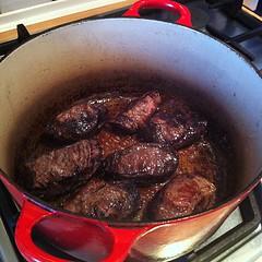 Frying pig's cheeks.