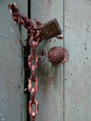 Padlock and chain (Home Land & Sea) Tags: door old autumn newzealand green shed rusty chain doorknob nz padlock cobwebs sonycybershot hawkesbay waikoau homelandsea dschx100v holtforest