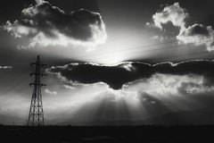 power lines (StephenCairns) Tags: blackandwhite bw lines japan clouds power powerlines  nocrop   gifu  backlighting lightrays hydrotower hydrolines motosu   contraluce  30mmsigmaf14 canon50d stephencairns 50dcanon