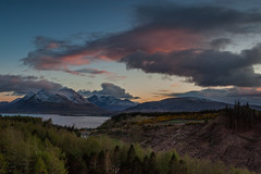 Sunset Over the Cuillins (Boyd Hunt) Tags: trees sunset sky snow mountains clouds canon scotland highlands logging loch cuillins raasay