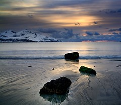 three stones (John A.Hemmingsen) Tags: sunset sun seascape reflection water colors clouds landscape nordnorge troms grtfjord nikkor1685dx nikond7000
