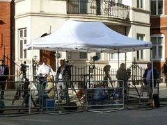 P1200985 Opposite the Embassy of Ecuador - The World Press (londonconstant) Tags: uk news london television ecuador media knightsbridge embassy international press asylum londonconstant wikileaks costilondra assange