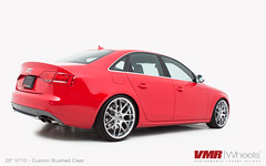 "VMR Wheels | V710 20"" Custom Brushed clear on Brilliant Red B8 Audi S4 (VMR Wheels) Tags: red vw turbo custom audi vmr supercharged turbocharged audis4 powdercoat brilliantred brushedfinish b8a4 velocitymotoring b8s4 vmrwheels audib8s4"