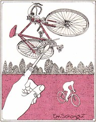 Bicycle love (eschongut) Tags: art bicycle illustration magazine design hand penandink bicyclerepair newyorkmagazine bicyclerider emanuelschongut