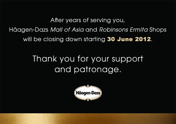 Official announcement on Haagen-Dazs Facebook page about their SM Mall of Asia and Robinsons Ermita stores closing down
