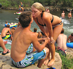 Young Love (Colorado Sands) Tags: summer people usa cute america creek river fun us kiss kissing colorado unitedstates candid younglove teenagers teens romance bikini americans summertime recreation amerika swimsuits bikinis bathingsuits clearcreek jeffersoncounty swimmingsuits sandraleidholdt leidholdt sandyleidholdt