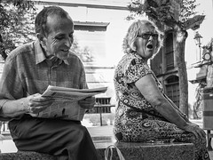 Amusement vs. Weariness (unoforever) Tags: barcelona street people monochrome photography calle gente streetphotography streetphoto fav oldpeople abuelos photograpy fotografa spmonochrome bestof2012 unoforever