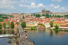 Prague : View from Charles bridge gothic tower - 4/4 (Pantchoa) Tags: castle river nikon republic prague cathedral praha praga most nikkor vltava stvituscathedral hradany praguecastle rawfile stvitus moldau karlv d90 gothictower czeck saintguy charkesbridge pantchoa 1685f3556gedvr ringexcellence