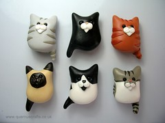 Cat Magnets (Quernus Crafts) Tags: cute cat polymerclay magnet catmagnet quernuscrafts