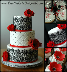 DONNA (Christina's Dessertery) Tags: wedding red white black flower cake shower cupcakes cookie monogram lace creative spanish round designs bridal anemones favors stenciling christinajohnson dragees diamondquilting
