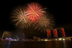Singapore NDP Rehearsal fireworks (jimbyrden) Tags: city red night marina gold singapore cityscape fireworks ndp mbs nationalday marinabay nationaldayparade marinabaysands
