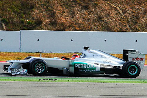 Michael Schumacher in his Mercedes F1 car in Formula One Winter Testing, Circuit de Catalunya, March 2012