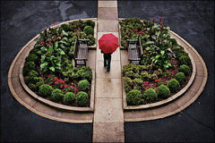 university club driveway garden - st. paul, mn (Dan Anderson.) Tags: flowers rain minnesota umbrella garden day stpaul symmetry sidewalk driveway symmetrical twincities mn redumbrella universityclub universityclubofstpaul