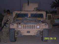 Notice the blood on the hood. (berryns1) Tags: usmc iraq humvee m2 fallujah 50cal insurgency m16a4