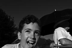 Happy Child BW (DuncanGunn) Tags: summer smile sunshine umbrella parasol sainthillmanor summertimeswing duncangunnsummereventsassignment