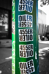 OILER 455ER (wendy crockett) Tags: graffiti tag stickers sanjose tags pole tagging graffitiart 455er empiresevenstudios