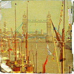 Le Pont de la Tour (Jill Lewins) Tags: england holiday london texture towerbridge river boats riverthames queensjubilee riverparade bocaccino