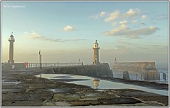 Piering Through The Mist Again! (Dave Cappleman) Tags: sea lighthouse mist canon reflections landscape coast landscapes pier seaside colours yorkshire whitby northyorkshire top20lh canoneos500d canonrebelt1i dave091260 davecappleman davecapplemanphotography