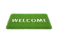 print the words are welcome on the mat of green grass (log_mitra777) Tags: hello white house color green feet home grass sign horizontal real carpet leaving message estate floor flat background object text perspective entrance visit front dirty clean communication mat dirt step homecoming invitation porch welcome arrival exit guest enter wipe visitor household doormat greeting isolated doorstep